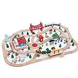 Dirgee 130 stücke Heben Holzschienenzug, Kinder Simulation Große Stereo Cartoon Holz Parkplatz Spielzeug Set Lane, Eisenbahnkran und Frachtzug Set