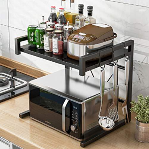 YAN QING SHOP Kitchen Shelves Retractable Microwave Rack Double Stainless Steel Oven Shelf Kitchen Storage Rack (Color : Black)