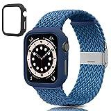 Yisica [1+2] Cinturino Apple Watch 40mm 44mm con Cover Protettiva, Cinturino Sportivo Elastico Intrecciato Regolabile, Custodia Protettiva Telaio Rigida PC Adatto per iWatch Serie 6 / SE / 5/4
