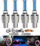 YUERWOVER 4 Stück LED Ventilkappen Fahrrad Reifen Beleuchtung Speichenlicht Fahrrad Ventilschaftkappe Licht Autozubehör für Fahrrad, Auto, Motorrad oder LKW mit 10 Zusätzlichen Batterien(Blua)