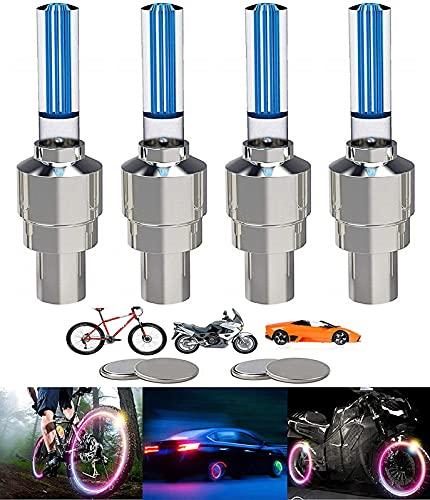 Yinch 4 Stück LED Ventilkappen Fahrrad Reifen Beleuchtung Speichenlicht Fahrrad Ventilschaftkappe Licht Autozubehör für Fahrrad, Auto, Motorrad oder LKW mit 10 Zusätzlichen Batterien(Blua)