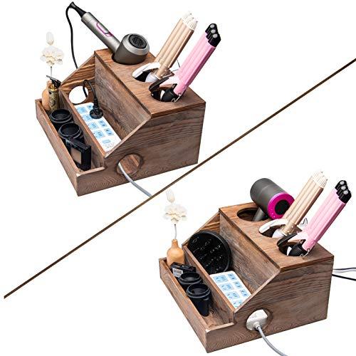 Holztrocknerhalter, Alter Bauernhaus dekorativer rustikaler Föhn und Lockenstab Haarstyling liefert Werkzeuge Organizer Lagerung für Waschtisch und Badezimmer (Holz) (Holz)