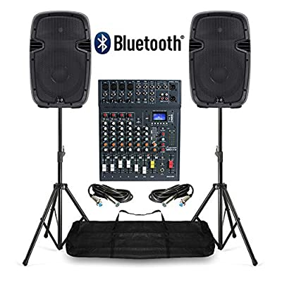 Studiomaster PA Sound System with Active Speakers, Mixer & Stands 800W Bluetooth USB DJ Disco