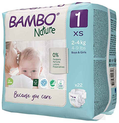 Bambo Nature Size 1 Premium Eco Nappies (4-9 lb/2-4 kg) Pack of 22