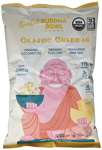 LesserEvil Buddha Bowl Classic Cheddah Organic Popcorn with Organic Cheddar Cheese, Organic Coconut Oil and Himalayan Pink Salt, 5 Ounce (Pack of 3)