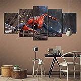 wodclockyui 5 Piezas Cuadro de Lienzo- Regreso a casa de Spiderman Pintura 5 Impresiones de imágenes Decoración de Pared para el hogar Pinturas y Carteles de Arte HD 200cmx100cm sin Marco