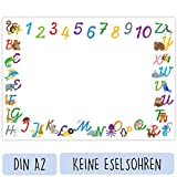 Schreibtischunterlage Kinder (Papier A2 Groß - Tiere - 25 Blatt) - Schreibunterlage zum Schreiben lernen mit ABC Buchstaben und Zahlen - Süßes Geschenk zum Schulanfang für Mädchen und Jungen