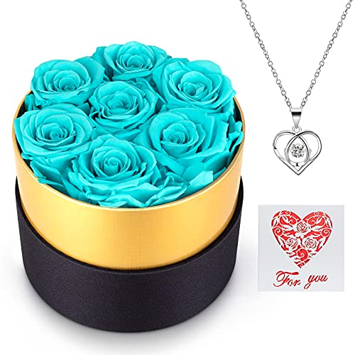 AirCover Preserved Real Roses with Heart Necklace and Card. Forever Rose Gifts for Mom/Women/Girlfriend/Wife/Her/Best Friend/Valentine's Day/Birthday/Wedding/Anniversary/Christmas (Tiffany Blue)