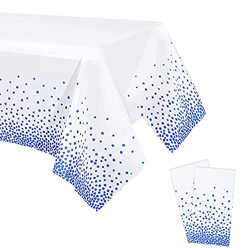 YXHZVON 2 Pezzi Tovaglia Battesimo Usa e Getta, Tovaglie Compleanno Bianchi con Pois Blu per Matrimoni, Natale, Party, Picnic (137 x 274 cm)