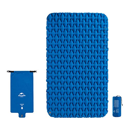 Tentock Ultraleicht Feuchtigkeitsfest Camping Schlafmatte im Freien - Aufblasbare Reisematte für 1-2 Personen, Dicke 6,5 cm(ohne Kissen für 2 Personen,blau)