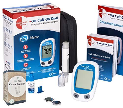 Swiss Point Of Care GK Dual Glukose und Ketone Starterpaket | 1 x Messgerät (MMOL/L), 25 x Ketone-Teststreifen und weiteres Zubehör | zur genauen Messung der Ketonwerte