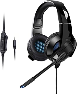 Blue Light RONSHIN Headphones//Earphones//Earbuds//Headsets A10 Gaming Headset with Microphone Professional Wired Gaming Bass Over-Ear Headphones with Mic 3.5mm Black
