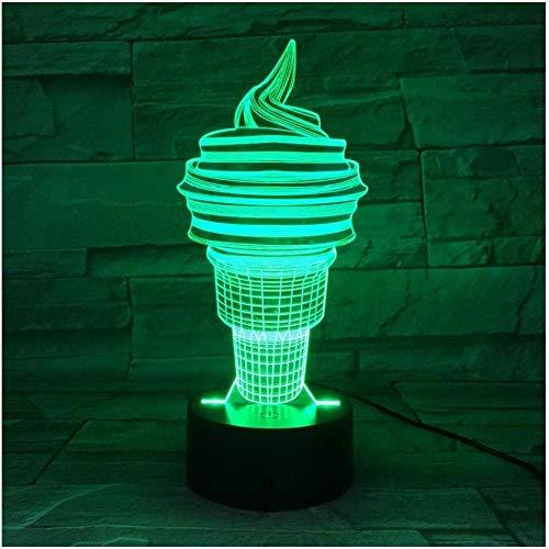 Night Light Ice Cream Cone Torch 3D Table Lamp Led Colorful Nightlight Kids Birthday Gift USB Sleep Lighting 7 Colors Lights
