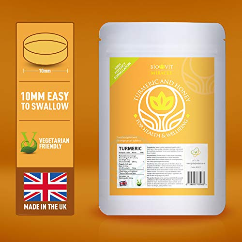 VYTALIVING Biovit Miracle Turmeric and Honey Vitamin Tablets (60 Vegetarian Tablets) - Great for Joints - Reduce Inflammation - Increase Immunity - Reduce Pain. As Seen in UK Press, Nutritionist