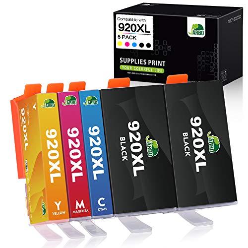JARBO Ersetzt für HP 920XL 920 Druckerpatronen (2 Schwarz, Blau, Rot, Gelb) mit hoher Reichweite Kompatibel für HP Officejet 6500 6500A 6000 7000 7500 7500A