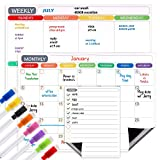 Magnetic Dry Erase Calendar for Refrigerator Whiteboard Sheet for Fridge Monthly Weekly Daily to-do List Planner Organizer for Family Calendar 8 Fine Point Markers & Eraser with Magnets Included