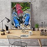 qinminsru Acuario   Animales de Acuario   El Cangrejo de río más Hermoso del Mundo-Cangrejo de río Art Photo  Póster Fotográfico Vintage Impreso en Lienzo 50x70 cm Sin Marco