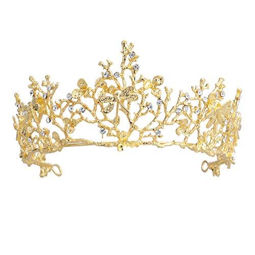 Frcolor Tiara / Brautkrone / Diadem, für Hochzeit, Stil: Barock / Vintage, mit Strass, Stirnband für Prinzessinnen und Königinnen, für Hochzeit und Party, goldfarben