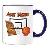 Regalo personaliseitonline - Taza de baloncesto (Diseño del deporte tema, colores) - nombre/mensaje en su única canasta - NBA slam dunk taza, cerámica, azul