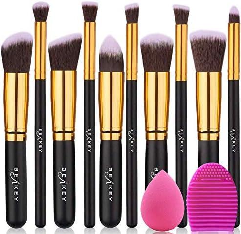 Makeup Brushes, BEAKEY Makeup Brushes Sets Professional Premium Synthetic Foundation Brushes, Blending Face Powder Blush Eyeshadow Brushes, Brush Set with Sponge and Brush Egg (10+2pcs, Black/Silver)