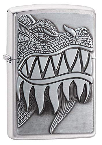 Zippo Fire Breathing Dragon Emblem Brushed Chrome Pocket Lighter, One Size