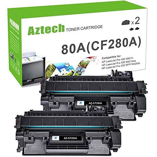 Aztech Compatible Toner Cartridge Replacement for HP 80A Laserjet 80A CF280A 80X CF280X Laserjet Pro 400 M401A M401D M401N M401DNE MFP M425DN Printer Ink (Black, 2-Pack)