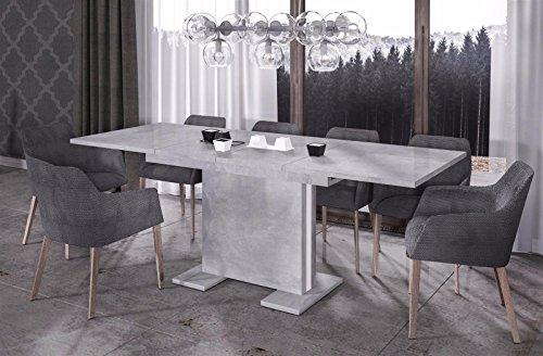 Endo Eettafel Linea 210 uittrekbaar uitbreidbare keukentafel eetkamertafel zuiltafel Beton-look.