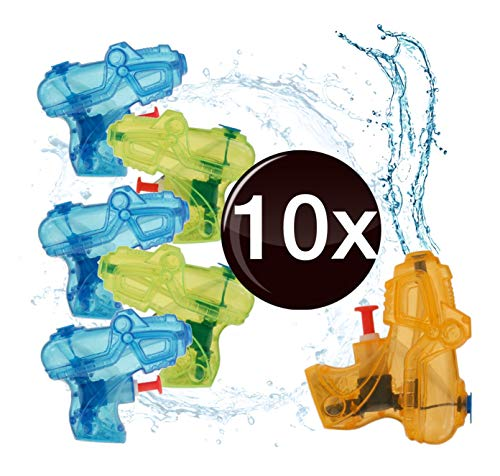 TK Gruppe Timo Klingler 10x Mini Wasserspritzpistolen Wasserpistole Wasser Spritzpistolen klein Wassergewehr Wassergewehre Mitgebsel, Kindergeburtstag, Giveaway (10x Stück)