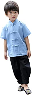 Chinese Traditional Children Clothes Tang Suit Boy Shirt Trouser Qipao Set