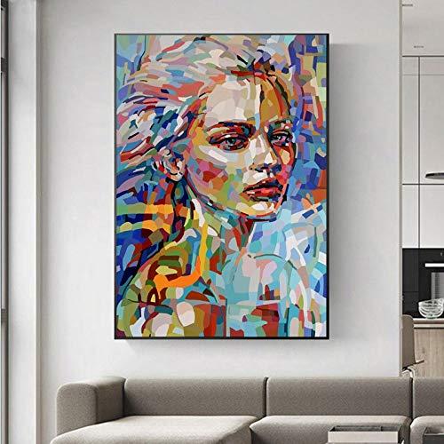 KUNST Abstract meisje kleurrijke foto's canvas schilderij muurkunst voor woonkamer slaapkamer modern decoratief schilderij 50x65cm