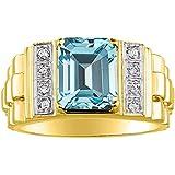 December Birthstone RYLOS Simply Elegant Beautiful Blue Topaz /& Diamond Ring