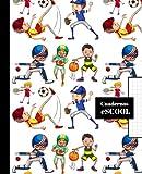 CUADERNO ESCOLAR: Cuaderno de hoja cuadriculada de 4 mm   Cuadrícula 4x4   Tamaño especial para la mochila  Diseño de portada de deportes: fútbol, baloncesto, tenis, beisbol...