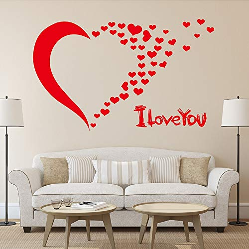 Ofomox Wall stickers red letter love you bedroom living room wedding decorations room background home decoration wall decals 68x90cm