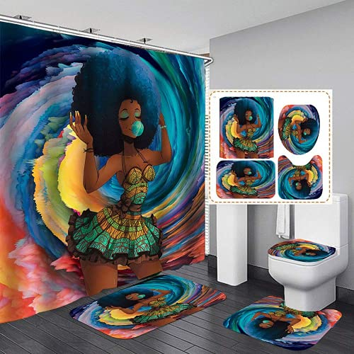 Yddsky American African Black Girl 4 Pcs Shower Curtains with Non-Slip Rugs and 12 Hooks, Toilet Lid Cover and Bath Mat,Cute Colorful Bubble Girl Bathroom Shower Curtains
