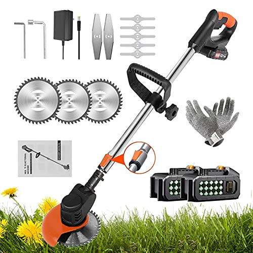 BTSXZCZ 3-in-1 Cordless Garden Trimmer, 36V Grass Trimmer/Edger with 2 6Ah Batteries & Charger, Adjustable Head And Telescopic Handle, 15cm Cutting Diameter, Best Cordless Strimmers For Garden Lawn
