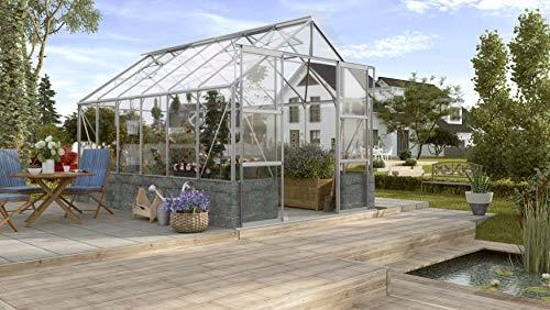 Gartenwelt Riegelsberger Gewächshaus Cassandra - Ausführung: 9900 ESG 3 mm schwarz, Fläche: ca. 9,9 m², mit 4 Dachfenster, Sockel: 2,56 x 3,88 x 0,50 m