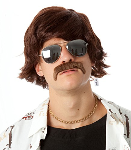 60s 70s Sonny Bono Wig and Mustache Short Brown Ron Burgundy Wigs Mens Shag Hippie Costumes Fits Adults & Kids