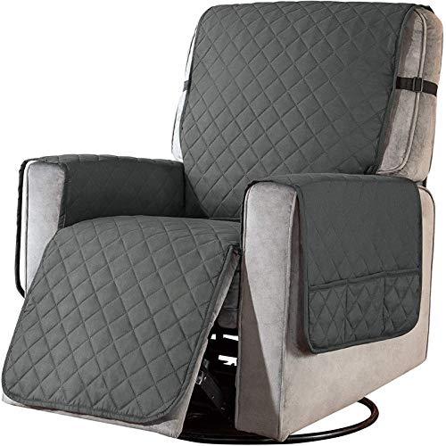 Sesselschoner mit Taschen, Fernsehsessel Schutzbezug Anti-Rutsch, Relaxsessel Sesselauflage Relax,1 Sitzer Sesselauflage für Zuhause mit Kindern und Haustieren Hund ( Color : Grey , Size : Laege )