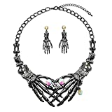 Halloween Punk Necklace arrings Set Hypoallergenic Gothic Skull Skeleton Choker Necklace Earrings Jewelry Set For Women Girls Including 1 Chunky Necklace 1 Drop Earrings