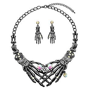 Halloween Punk Necklace arrings Set Hypoallergenic Gothic Skull Skeleton Choker Necklace Earrings Jewelry Set For Women…