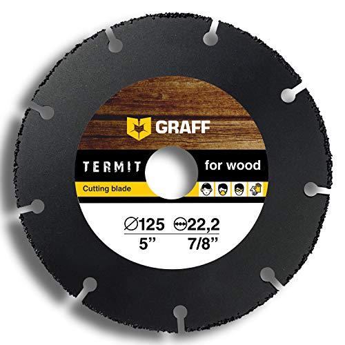 Winkelschleifer Holz Trennscheibe GRAFF Termit 125mm / 115mm, Flex Scheibe (wood carving disc) für Holz Schnitzen, Speedcutter (125 mm)