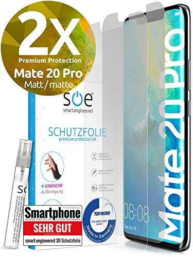 [2 Stück] Entspiegelte 3D Schutzfolien kompatibel mit Huawei Mate 20 Pro - [Made in Germany - TÜV Nord] Bildschirmschutz-Folie - Hüllenfre&lich – Matt – kein Schutz-Glas sondern Panzer-Folie TPU