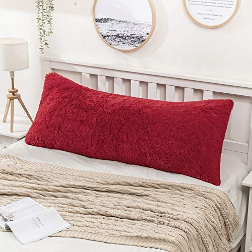 MIULEE Decorative Luxury Faux Fur Full Body Pillow Cover Long Bed Pillowcase Plush Throw Pillow Cover Hidden Zipper Closure for Sofa Bedroom Pregnant Adults Women Sleeping 21 x 54 Inches Red