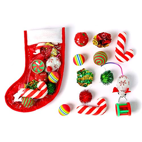 Cat Christmas Stocking Filled with Toys and Treats