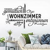 KLEBEHELD Wandtattoo Wohnzimmer Wortwolke   VIP-Lounge, Zuhause, Kuschelzone, Sprüche, Wandaufkleber Farbe schwarz, Größe 80x43cm