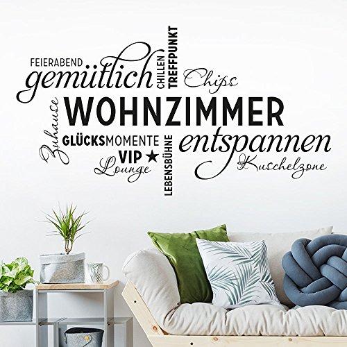 KLEBEHELD® Wandtattoo Wohnzimmer Wortwolke | VIP-Lounge, Zuhause, Kuschelzone, Sprüche, Wandaufkleber Farbe schwarz, Größe 80x43cm