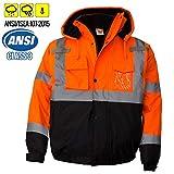 New York Hi-Viz Workwear WJ9011-XL Men's ANSI Class 3 High Visibility Bomber Safety Jacket, Waterproof (Extra Large, Orange)