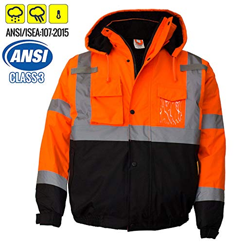 New York Hi-Viz Workwear WJ9011-4XL Men's ANSI Class 3 High Visibility Bomber Safety Jacket, Waterproof (4XL, Orange)