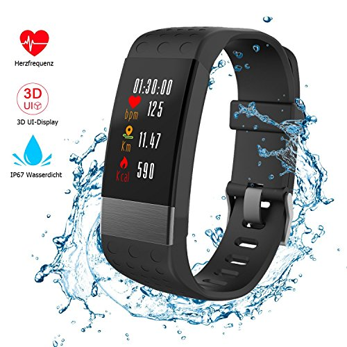 Nicksea Fitness Tracker mit herzfrequenz, Fitness Armband IP67 Wasserdicht 3D UI Farbdisplay Schrittzähler, Schlafüberwachung, Kalorienzähler, Aktivitätstracker für Android oder iOS Smartphones