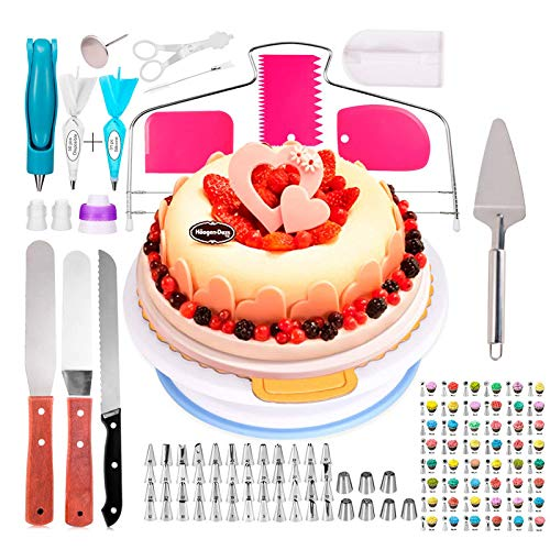 All-In Plateau Tournant de Gâteau, 124 Kit de Douilles Pâtisserie avec Bouche de Décoration de Gâteau, Coupe-Gâteau, Brosse pour Cuisine Décoration de Gâteaux